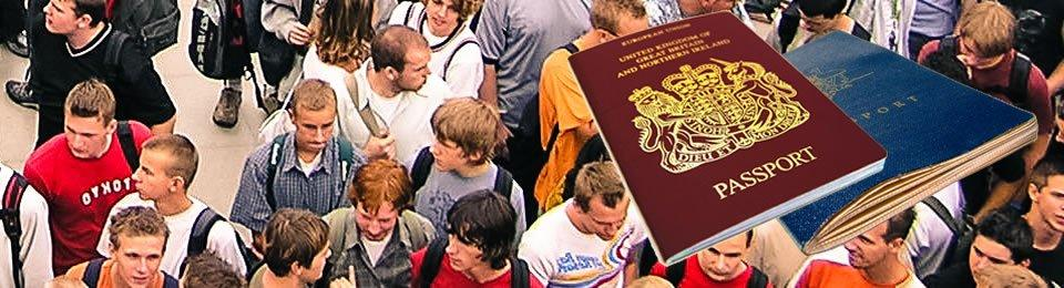 Great Britain passports and a lot of people